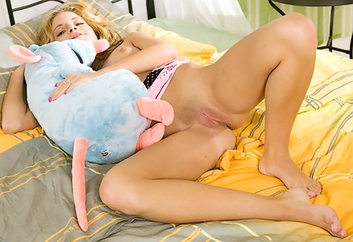 Blonde and a plush toy